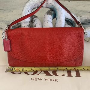 Coach large red leather wristlet wallet
